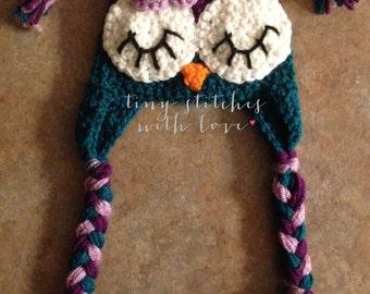 Dark Purple, Light Purple, and Teal Owl Hat