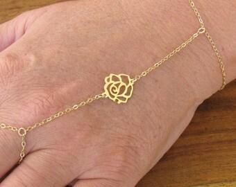Gold bracelet, 14k gold filled, oriental bracelet, chain bracelet, vintage bracelet, hand bracelet, tiny bracelet