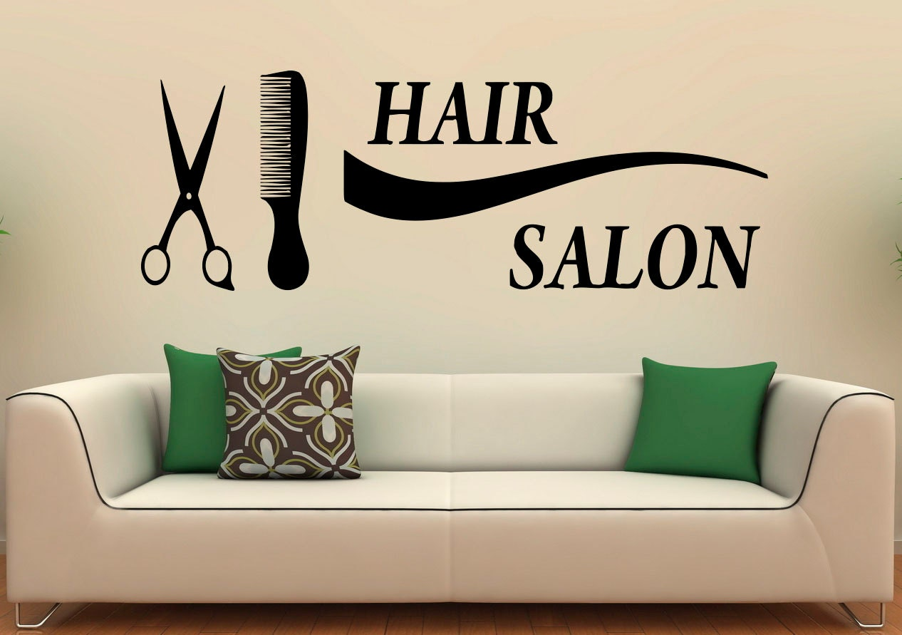 hairstyle hair salon wall decal vinyl sticker fashion styling. Black Bedroom Furniture Sets. Home Design Ideas