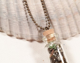 Steampunk Necklace - Watch Glitter and Green Crystals in Glass Vial - Upcycled Altered Art Industrial