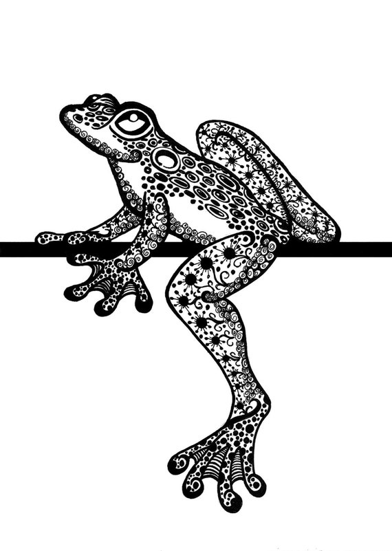 Items Similar To Zentangle Frog Tree Zendoodle Doodle Ink Drawing Black And White DIgital Download DIY On Etsy