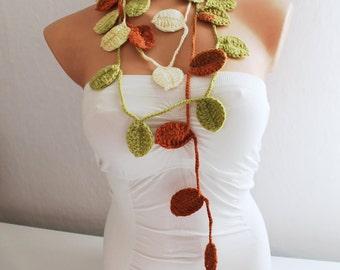 Fall Autumn Leaf Scarf Crochet Lariat Scarf