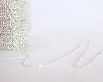 25 Feet - 1.9mm Round Cable Chain - Sterling Silver Chain  - Medium Chain - Silver Chain - Wholesale Chain - Custom Length .925 / SS-CH002