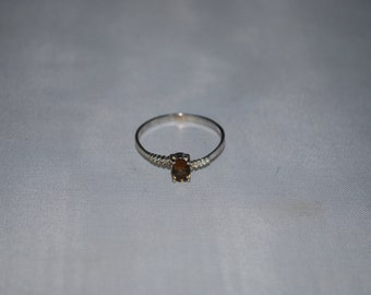 Sterling silver smokey quartz ring size 8.5