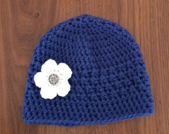 Toddler Girl Winter Hat with Flower - Blue City Hat