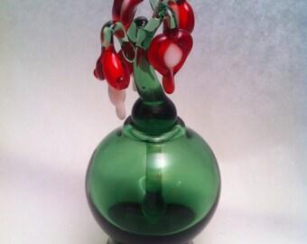 Glass Perfume Bottle with Bleeding Heart Stem