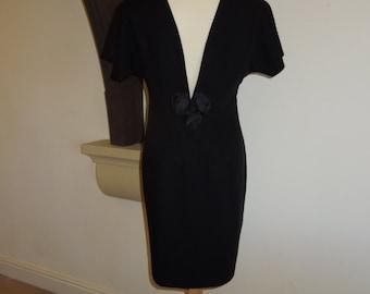 Vintage black shift dress with backless detail UK size 12