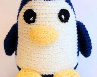 Blue and White Crochet Penguin Stuffie