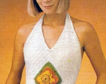 Pattern Only: Vintage Summer Halter Crochet Pattern 1988 - PDF Download