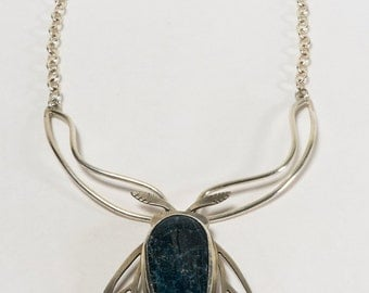 Blue Moth - OOAK - Apatite- statement necklace- sterling silver