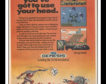 "Vintage Print Ad 1990's : Sega Genesis - DecapAttack Art Decor 6.5"" x 10"" Advertisement"