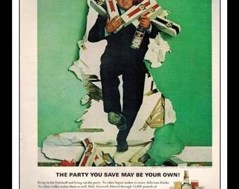 "Vintage Print Ad January 1966 : Smirnoff Vodka Buddy Hackett Wall Art Decor 8.5"" x 11"" Advertisement"