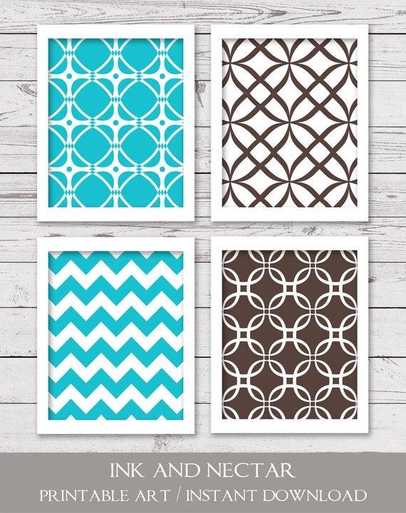 turquoise and brown art printable art printable wall art. Black Bedroom Furniture Sets. Home Design Ideas