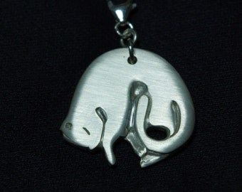 Cat Sterling Silver pendant. Handmade.