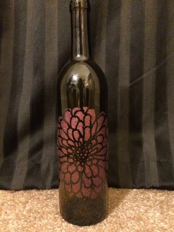 Items similar to glass wine bottle with painted purple for Painting flowers on wine bottles
