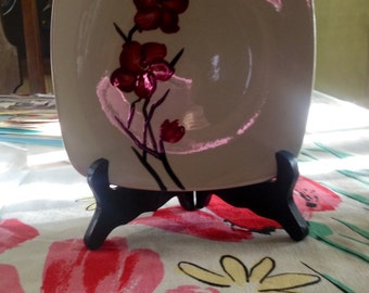 Orchard Ware Hand Painted plate Red Flower made in California