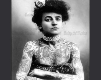 Sideshow Tattooed Woman - Vintage Historic Photo - Ready To Hang Traditional Wall Art - Digital Download Print