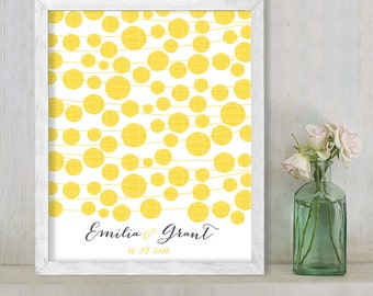 Wedding Guest Book Alternative Poster / Lemon Yellow Lantern String Lights Guestbook Wedding Sign ▷ Printable File {or} Printed & Shipped