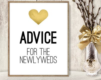 Advice For The Newlyweds // Watercolor Wedding Advice Sign DIY // Gold Heart, Watercolor Heart Sign, Printable PDF Poster ▷ Instant Download