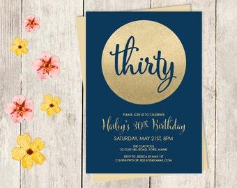 Gold Sparkle Birthday Invitation DIY // Thirty, Thirtieth Birthday // Metallic Gold Glitter Circle on Navy // Birthday Invite ▷Printable PDF
