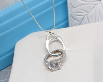 Ring Holder Necklace, Unisex Heavy Teardrop Clasp in Solid Sterling Silver,  Teardrop Clasp Ring Saver Necklace, Ring Holding Necklace