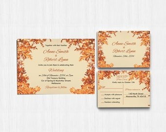 Autumn Wedding Invitation, autumn leaves, Autumn Colors, Printed wedding invite, Printable Digital file, Wedding Invitation, rustic invite