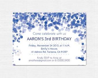 Navy Birthday Invitation, Printable birthday invitation, Children Birthday Party invitation, Children party invitation, navy blue invite