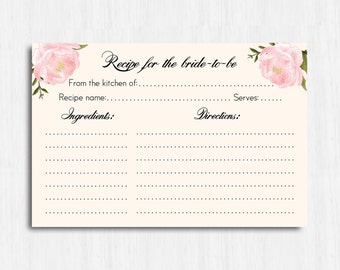 Peonies Recipe card, Printable recipe, Digital file flowers recipe card, floral recipe card, pink recipe card, blush recipe card, flower
