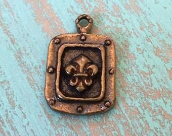Fleur de Lis Pendant/Charm, Artisan Bronze - Vintage, Supplies, NOLA