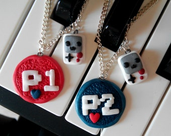 Player 1 and Player 2 GameBoy BFF, Couple or Brothers and Sisters Necklace Valentine's Day