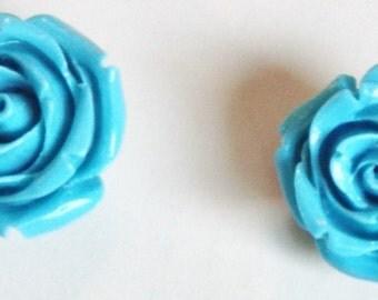 Light Blue Rose Earrings E184