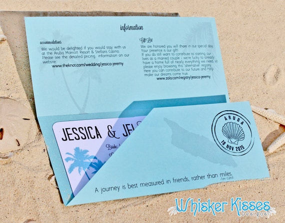 Cruise Wedding Invitation Wording Examples: SAMPLE Boarding Pass Wedding Invitation Tropical Wedding