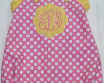 Pink Lemonade Outfit, Monogrammed Pink Lemonade Outfit, Pink Polka Dot Bubble, Pink and Yellow Bubble, Criss Cross Bubble