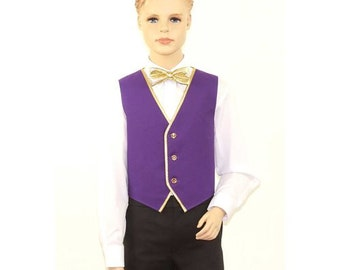 Kids Purple Full Back Dress Vest with Gold Trim