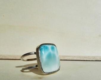 Larimar square ring.