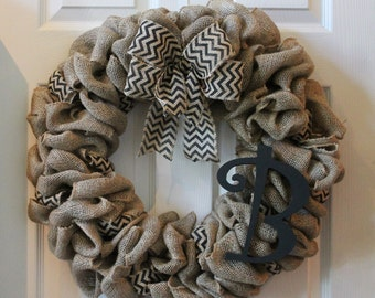 Black Chevron Burlap Wreath with Monogram, Front Door Wreath