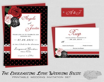 Awesome Rockabilly Wedding Invitations, Rustic Wedding Invites, Printable Country  Wedding, DIY Floral Wedding Invitations