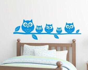 Owls on a branch - Kids / Nursery bedroom wall art sticker by Createworks H522K