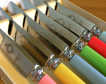 Set of six vintage stainless steel knives