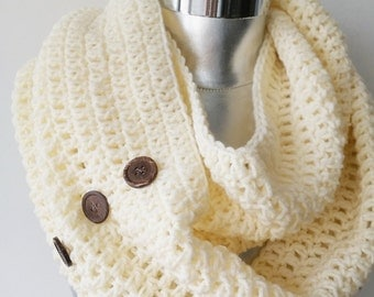 Ivory knit scarf winter scarf knit scarf  scarf women scarf chunky knit scarf knit infinity scarf button scarf  women fashion  FAST DELIVERY