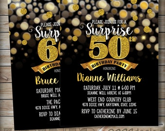 Surprise 50th birthday invitation black and gold 30th 40th surprise birthday party invitation black gold invite 30th 40th 50th 60th 70th birthday invite filmwisefo