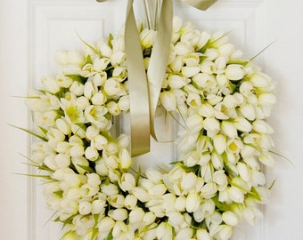 White Tulip Wreath, Spring Wreath, Easter Wreath, Front Door Wreath, Wedding, Shower, Mothers Day