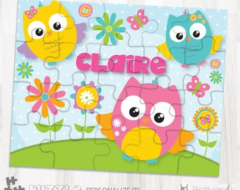 SALE Owl personalized puzzle, 20 pieces puzzle, name puzzle, Personalized name puzzle, Kids Personalized Gift - PU109