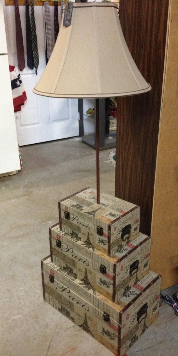 Three tier trunk floor lamp by shadeyladieslamps on etsy for 4 tier floor lamp