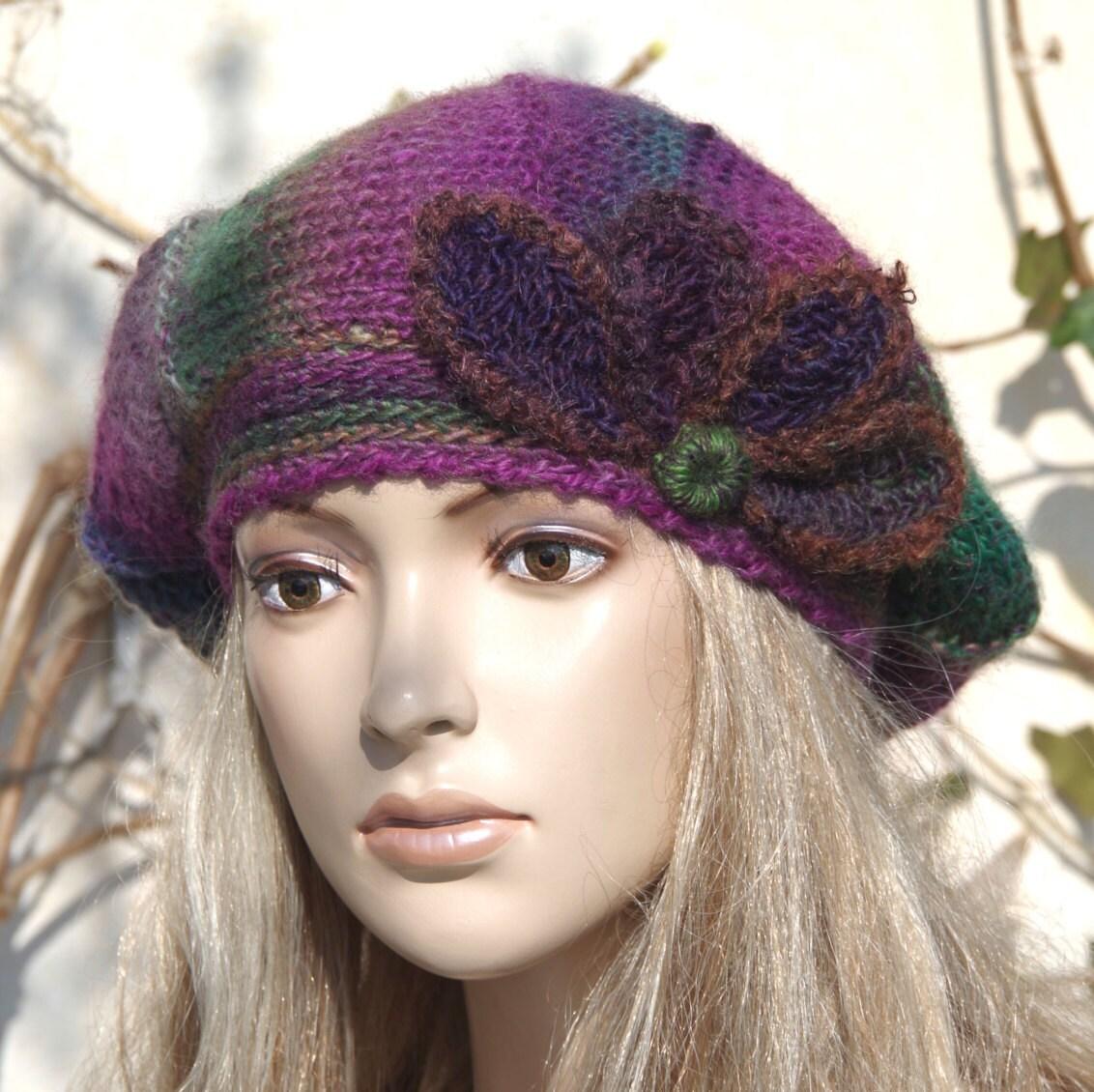 knit beret hat womenpurplegreen knit hat knit beret by degra2