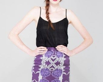 Thistle Silk Pencil Skirt - Printed Skirt - Purple Skirt - Midi Skirt - Womens Fashion Skirts - Designer - Classic Skirt - Celtic Button