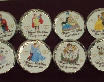 96 Custom Made Disney Wedding/Engagement/Anniversary Candy kiss/mini bubbles Labels @*Peel N Stick