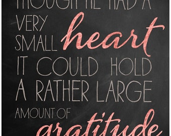 Piglet's Gratitude - Winnie the Pooh Quote Chalkboard Print