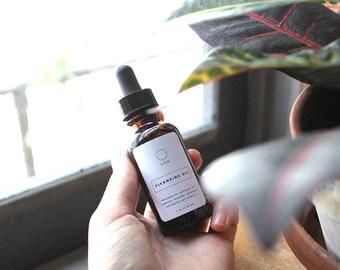 Facial Cleansing Oil // Makeup Remover - Vegan, Organic - Facial Cleanser, Acne Cleanser, Natural Face Wash, Vegan Skincare