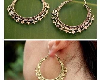 Brass hoop earrings with filigree details